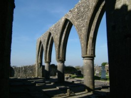 Some of the gothic arches in the ruined nave, Claregalway Abbey.