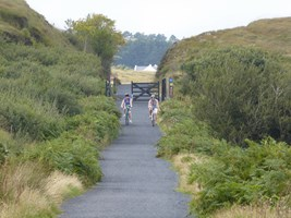 Cyclists on the Great Western Greenway in Co. Mayo, Ireland