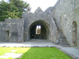 Looking across cloister garth to the chapter room, Ennis Friary, Co. Clare
