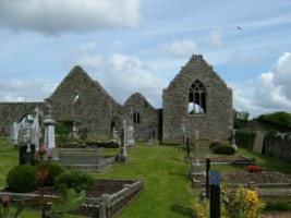 Front view of Kilnalahin Abbey, Abbey, Co. Galway