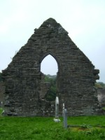 An end wall in the ruins of Donegal Friary, Donegal Town