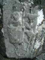 Carving of St. Francis in the cup of a flower preaching to birds on a tree, Creevelea friary, Co. Leitrim
