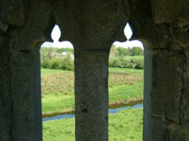 Looking out through an upstairs window of Quin Abbey, Quin, Co. Clare
